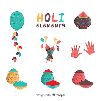 Hand getrokken holi-elementen