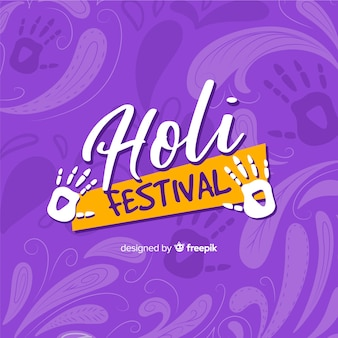 Hand getrokken holi festival achtergrond