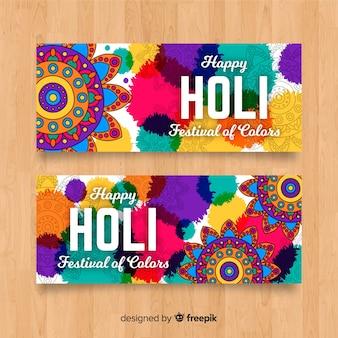 Hand getrokken holi festival banner