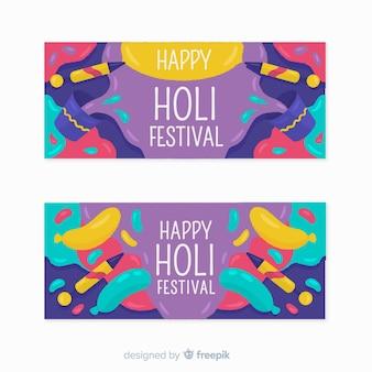 Hand getrokken holi festival banners