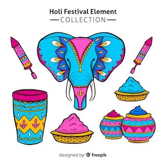 Hand getrokken holi festival element pack