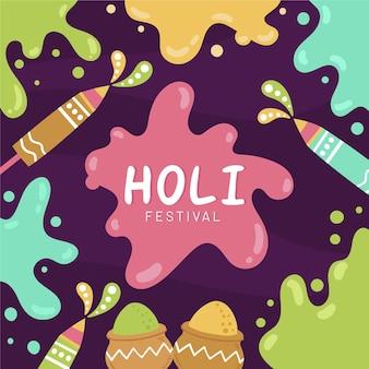 Hand getrokken holi festival kleurvlekken