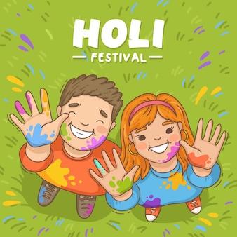 Hand getrokken holi festival mensen illustraties