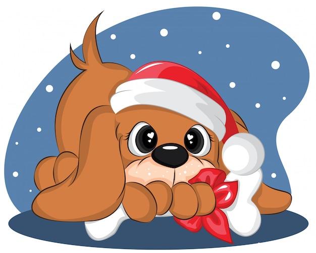Hand getrokken hond met kerstmuts en bot