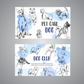 Hand getrokken honden huisdier zorg visitekaartje