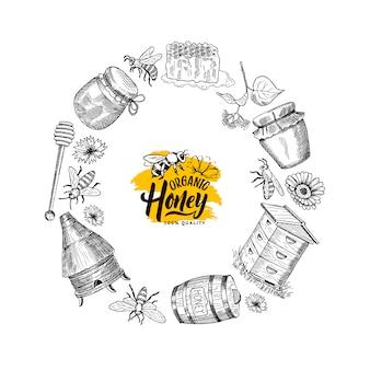 Hand getrokken honing elementen in cirkelvorm met plaats voor tekst in centrum geïsoleerd op witte illustratie