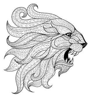 Hand getrokken hoofd van lion achtergrond