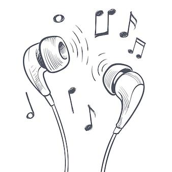 Hand getrokken hoofdtelefoons en muzieknoten doodles elektronische muziek concept.