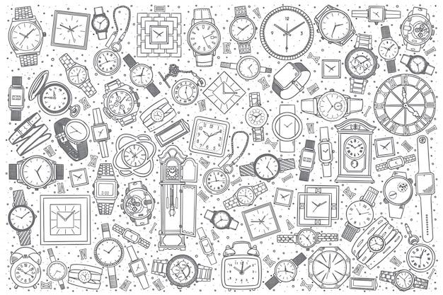 Hand getrokken horloge winkel set