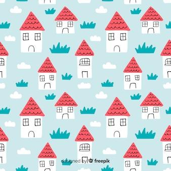 Hand getrokken huis doodle patroon