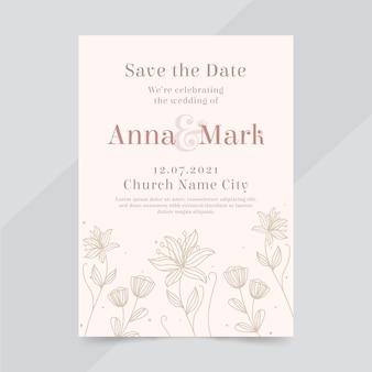 Hand getrokken huwelijksuitnodiging