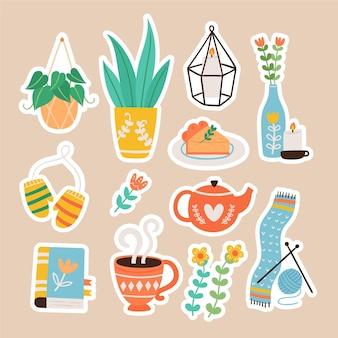 Hand getrokken hygge stickers collectie