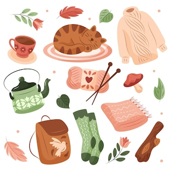 Hand getrokken hygge stickers set
