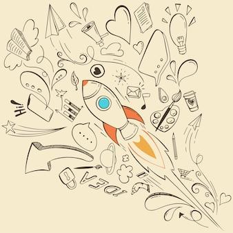 Hand getrokken idee concept doodle schets elementen.