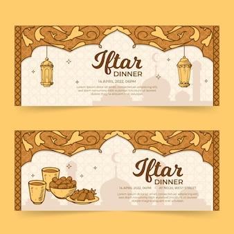 Hand getrokken iftar-banner set