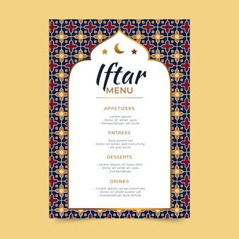 Hand getrokken iftar menusjabloon