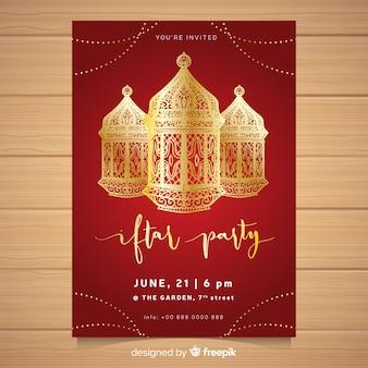 Hand getrokken iftar uitnodiging sjabloon
