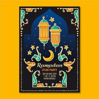 Hand getrokken iftar uitnodiging