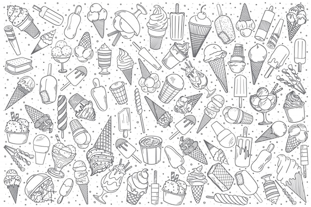 Hand getrokken ijs doodle set