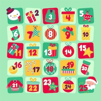 Hand getrokken illustratie adventkalender