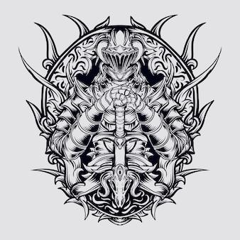 Hand getrokken illustratie donkere ridder gravure ornament
