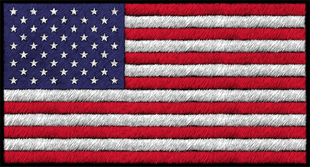 Hand getrokken illustratie in krijtstijl van de vlag van de vs