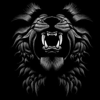 Hand getrokken illustratie in krijtstijl van leeuw