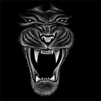 Hand getrokken illustratie in krijtstijl van tijger