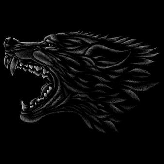 Hand getrokken illustratie in krijtstijl van wolf