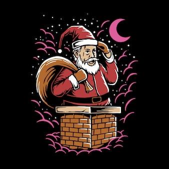 Hand getrokken illustratie kerstman