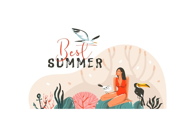Hand getrokken illustratie met jonge, gelukkige schoonheidsvrouw in zwempakbikini op het strand