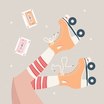 Hand getrokken illustratie met vrouwelijke benen en buis sokken en retro rolschaatsen.