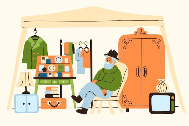 Hand getrokken illustratie rommelmarkt concept