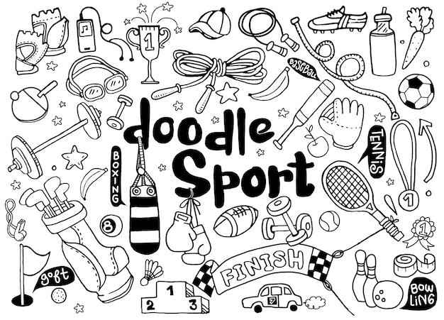 Hand getrokken illustratie set fitness en sport teken en symbool doodles elementen.