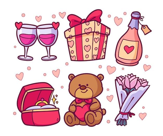 Hand getrokken illustratie valentijnsdag element pack