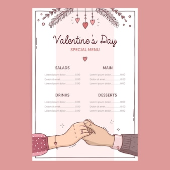 Hand getrokken illustratie valentijnsdag menusjabloon