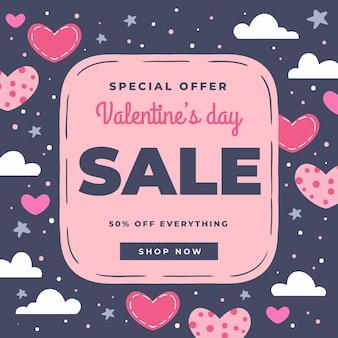 Hand getrokken illustratie valentijnsdag verkoop
