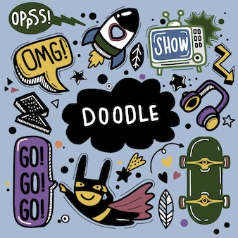 Hand getrokken illustratie van doodle set, lijntools tekenen, platte ontwerp