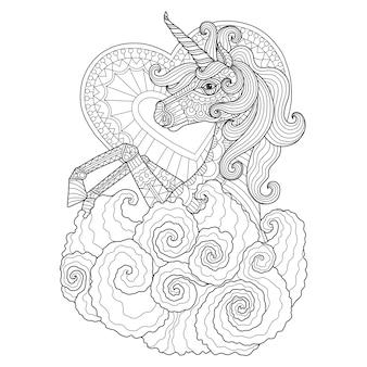 Hand getrokken illustratie van eenhoorn in zentangle stijl
