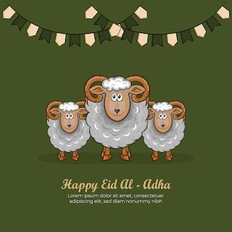 Hand getrokken illustratie van eid al-adha of qurban-dagen die concept begroeten op groene achtergrond.