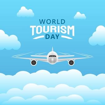 Hand getrokken illustratie van het concept van de dag van het wereldtoerisme.