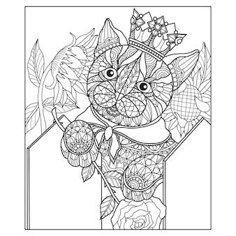Hand getrokken illustratie van kat in zentangle stijl