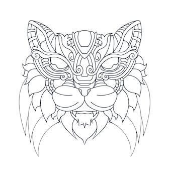 Hand getrokken illustratie van kattenornament
