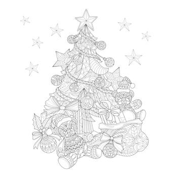 Hand getrokken illustratie van kerstboom