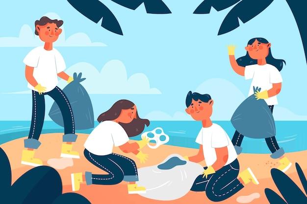 Hand getrokken illustratie van mensen die strand schoonmaken