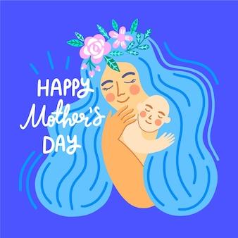 Hand getrokken illustratie van moeder die haar kind koestert