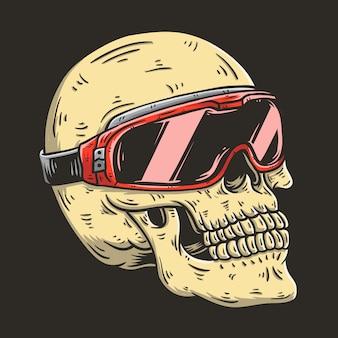 Hand getrokken illustratie van ruiter schedel met bril