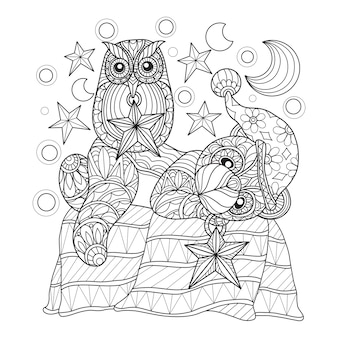 Hand getrokken illustratie van teddybeer en uil.