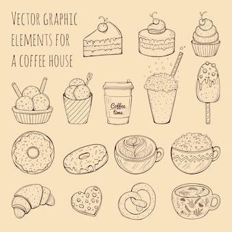 Hand getrokken illustratie - verzameling van goodies, snoep, cakes en gebak.