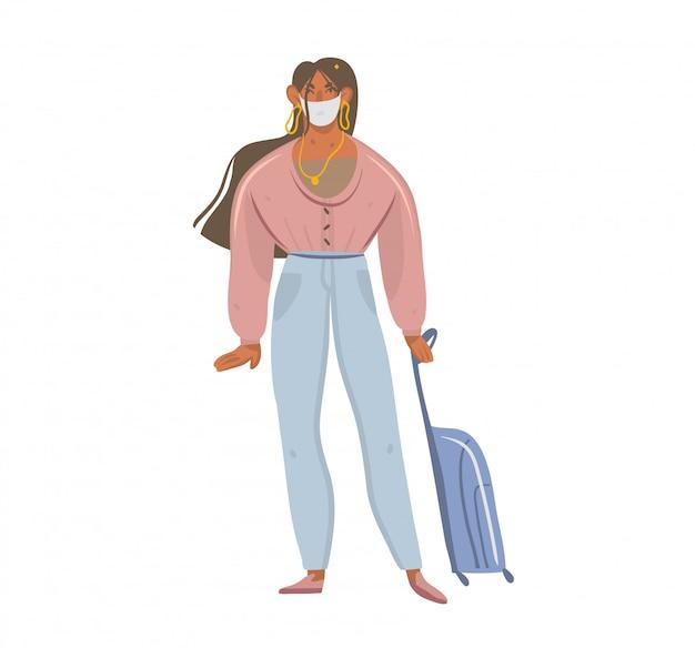 Hand getrokken illustraties met jonge vrouwelijke personage in gezichtsmasker met bagage geïsoleerd op een witte achtergrond
